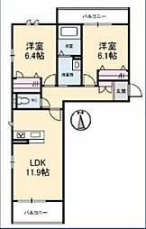 JR宇野線 備前西市駅 徒歩14分の賃貸マンション 2階2LDKの間取り