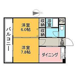 サンヒーローマンション別府駅前 7階2DKの間取り