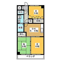 岐阜県各務原市那加西野町の賃貸マンションの間取り