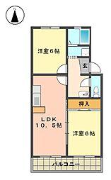 愛知県名古屋市名東区社台3丁目の賃貸マンションの間取り