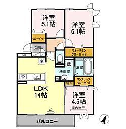 福岡県福岡市早良区昭代1丁目の賃貸アパートの間取り