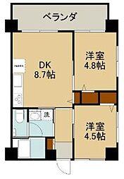 沖縄都市モノレール 儀保駅 徒歩23分の賃貸マンション 3階2DKの間取り