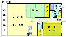 福岡県福岡市東区和白東2丁目の賃貸マンションの間取り