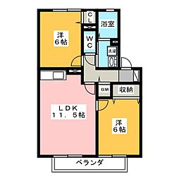 メゾンプリネール A棟[1階]の間取り