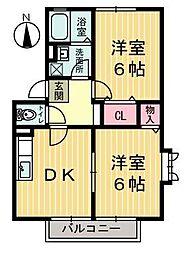 栃木県鹿沼市上材木町の賃貸アパートの間取り