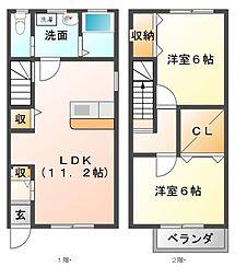 メゾン恵IIA棟[1階]の間取り