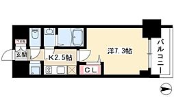 プレサンスジェネ丸の内 7階1Kの間取り
