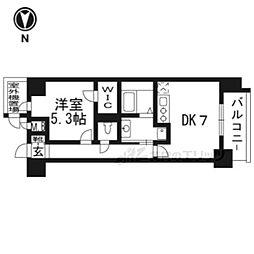 JR東海道・山陽本線 西大路駅 徒歩6分の賃貸マンション 6階1DKの間取り