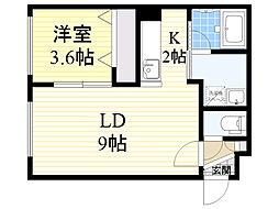 北海道札幌市東区北19条東17丁目の賃貸マンションの間取り