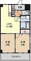 クレアール弐番館[4F号室号室]の間取り