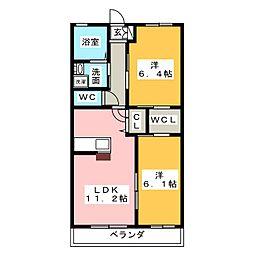 ラフィネハイム藤里[2階]の間取り