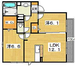 WITTY YOSHI A棟[2階]の間取り