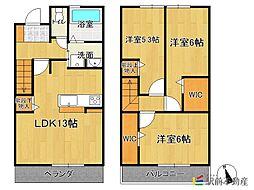 (仮)D-room香椎2丁目[102号室]の間取り