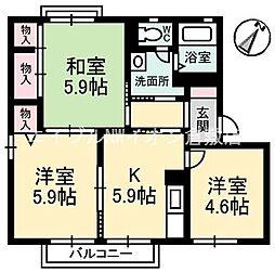 岡山県倉敷市玉島乙島の賃貸アパートの間取り