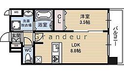 Laule`a放出(ラウレア) 7階1LDKの間取り