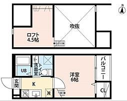 名鉄常滑線 柴田駅 徒歩10分の賃貸アパート 2階1SKの間取り