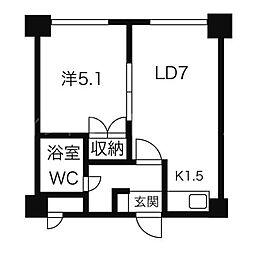 北海道札幌市豊平区平岸三条8丁目の賃貸マンションの間取り