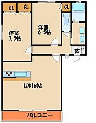 ブルーメ白水II[1階]の間取り