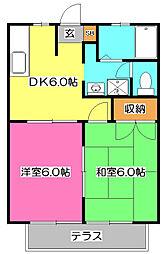埼玉県新座市野火止4丁目の賃貸アパートの間取り