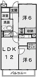 東京都町田市旭町3丁目の賃貸アパートの間取り