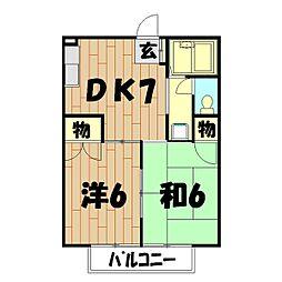 神奈川県横浜市瀬谷区下瀬谷2丁目の賃貸アパートの間取り