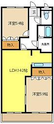 愛知県豊明市間米町間米の賃貸アパートの間取り