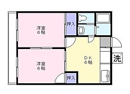 埼玉県草加市小山2丁目の賃貸アパートの間取り