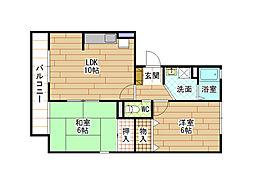 エクレール亀田B棟[1階]の間取り