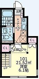 森のルピナスハイム 1階1Kの間取り