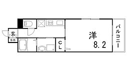 ヌーベルメゾン六甲 5階1Kの間取り