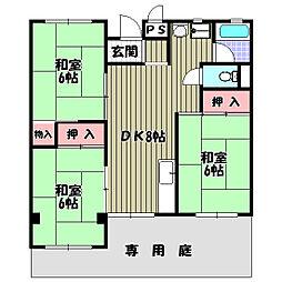大阪府河内長野市松ケ丘西町の賃貸アパートの間取り