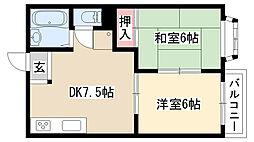 愛知県名古屋市緑区鳴子町2の賃貸アパートの間取り