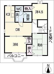 ドリームハウスB[2階]の間取り