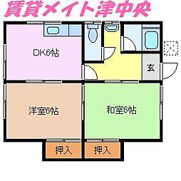 三重県津市久居持川町の賃貸アパートの間取り