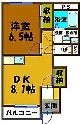 秩父鉄道 親鼻駅 徒歩9分の賃貸アパート 1階1DKの間取り