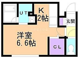札幌市営南北線 真駒内駅 徒歩14分の賃貸マンション 3階1Kの間取り
