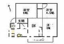 広島県廿日市市下平良の賃貸アパートの間取り
