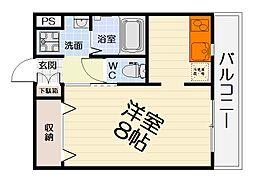 南海線 高石駅 徒歩5分の賃貸マンション 2階1Kの間取り