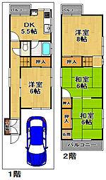 [一戸建] 大阪府大阪市大正区南恩加島2丁目 の賃貸【/】の間取り