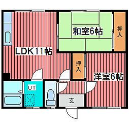 北海道札幌市豊平区西岡三条11丁目の賃貸アパートの間取り