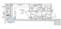 東京メトロ有楽町線 新富町駅 徒歩2分の賃貸マンション 9階1Kの間取り