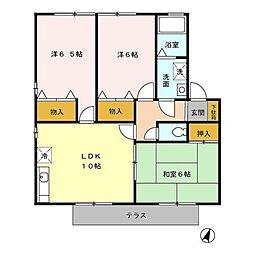 セジュール二本松 A棟[1階]の間取り