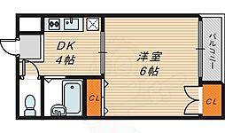 セピアコート 3階1DKの間取り