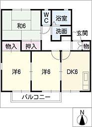 レイクサイドパレスA棟[2階]の間取り