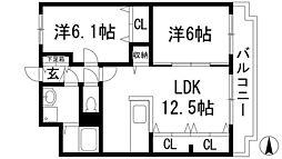 兵庫県宝塚市安倉北2丁目の賃貸マンションの間取り