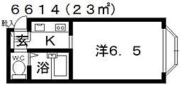 ラ・コート喜志[B102号室号室]の間取り