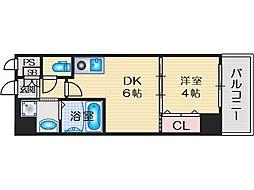 プレステージIV芥川 4階1DKの間取り