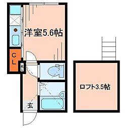 東京都大田区東雪谷4丁目の賃貸アパートの間取り