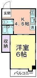 武蔵第一ビル[401号室]の間取り