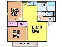 愛媛県松山市小栗6丁目の賃貸アパートの間取り